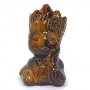 Vaso de Cerâmica Groot Marrom Escuro Verniz 12cm x 5,5cm