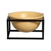 Vaso de Cerâmica Médio Amarelo com Suporte de Ferro Preto 13cm x 22,5cm - 6069