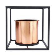 Vaso Geométrico Bronze com Suporte de Metal Preto 17cm x 17cm - 40075
