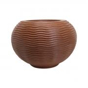 Vaso Ondulado Redondo Cor Ferrugem 26cm x 26cm