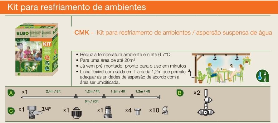 Kit para resfriamento de ambientes/ aspersão suspensa - nebulização CMK Elgo