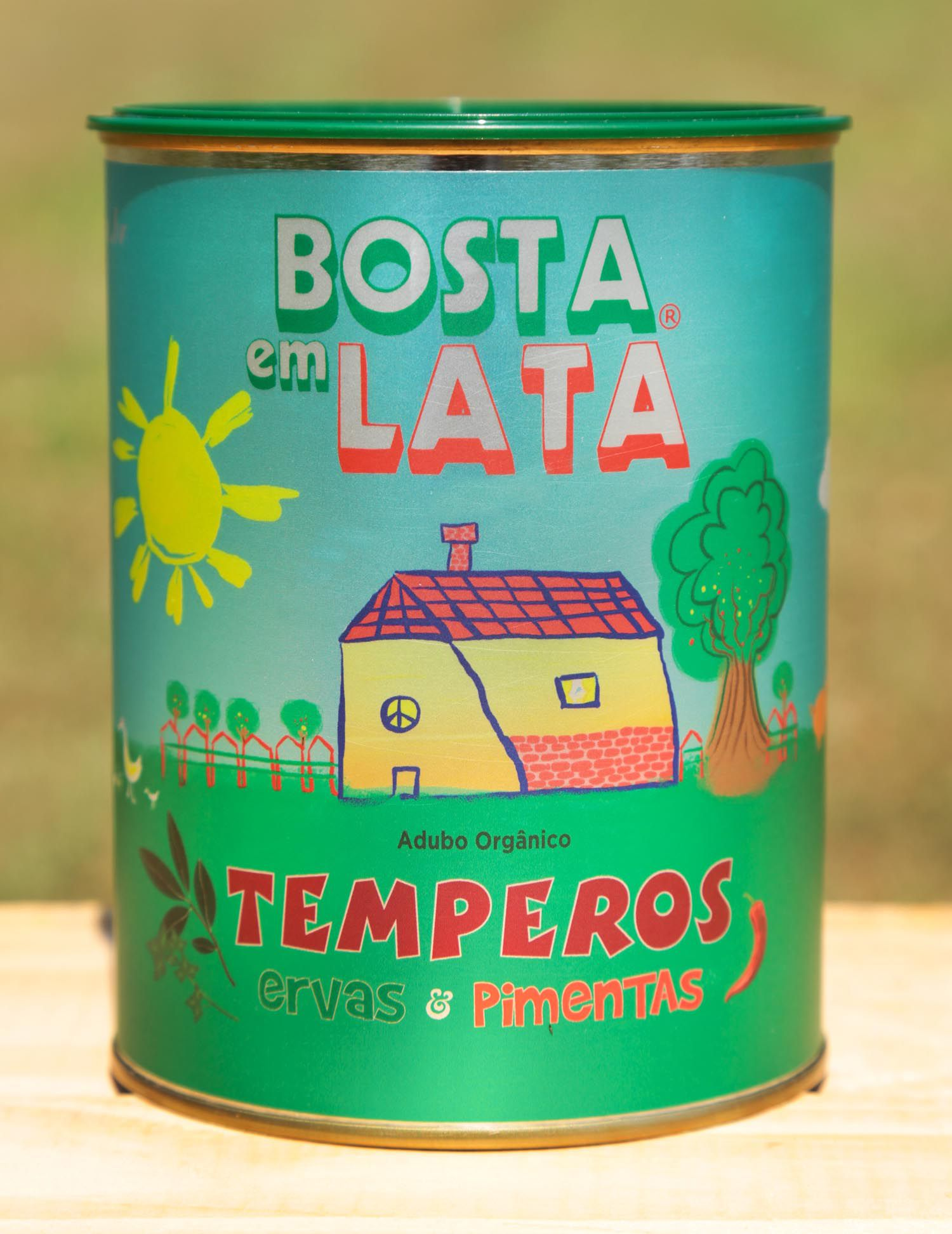 Adubo Orgânico Bosta em Lata para Temperos Ervas e Pimentas 500g