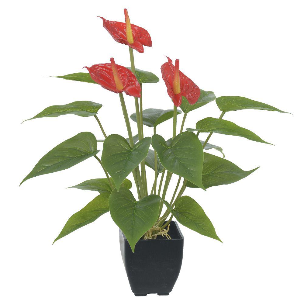 Antúrio Artificial Vermelho X3 com Pote 42cm - 41032001
