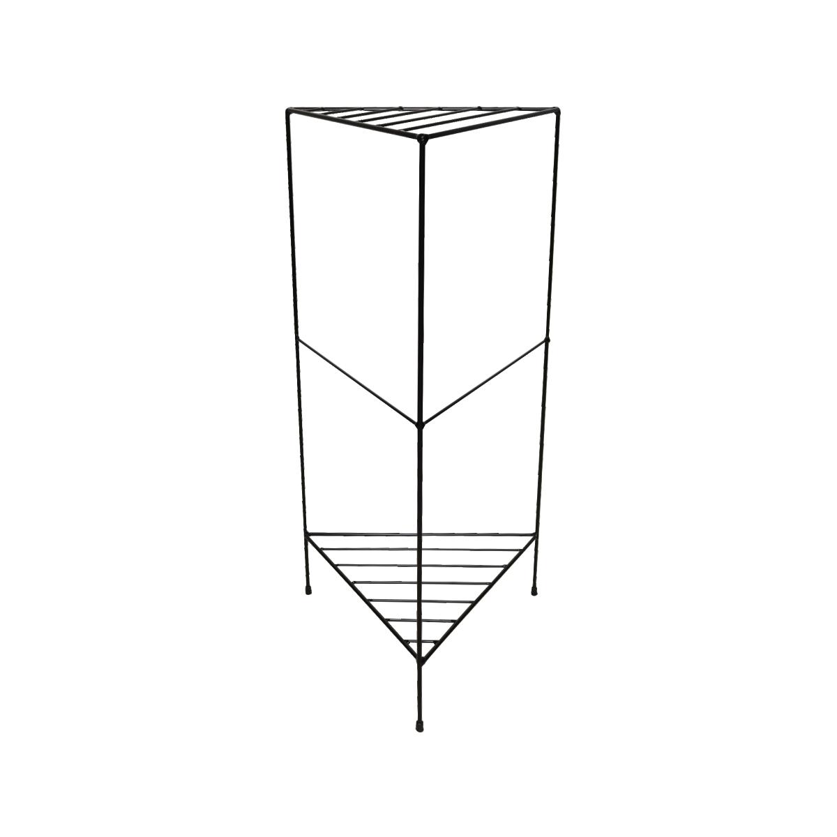Aparador de Ferro Triangular Estilo Industrial Preto com 2 andares 75cm