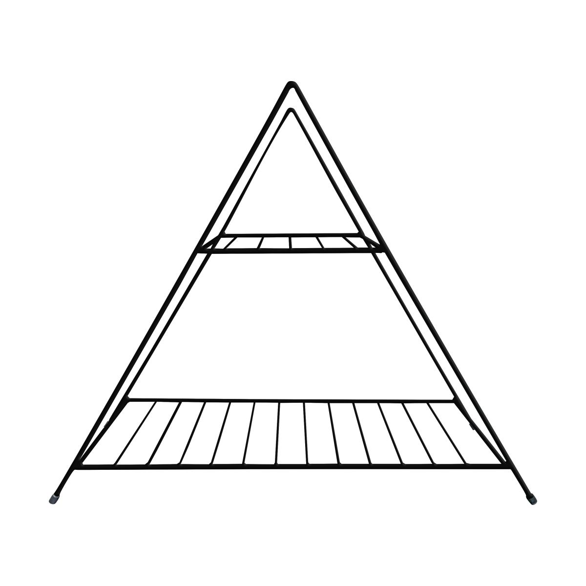 Aparador de Ferro Triangular Pequeno Estilo Industrial Preto 56cm