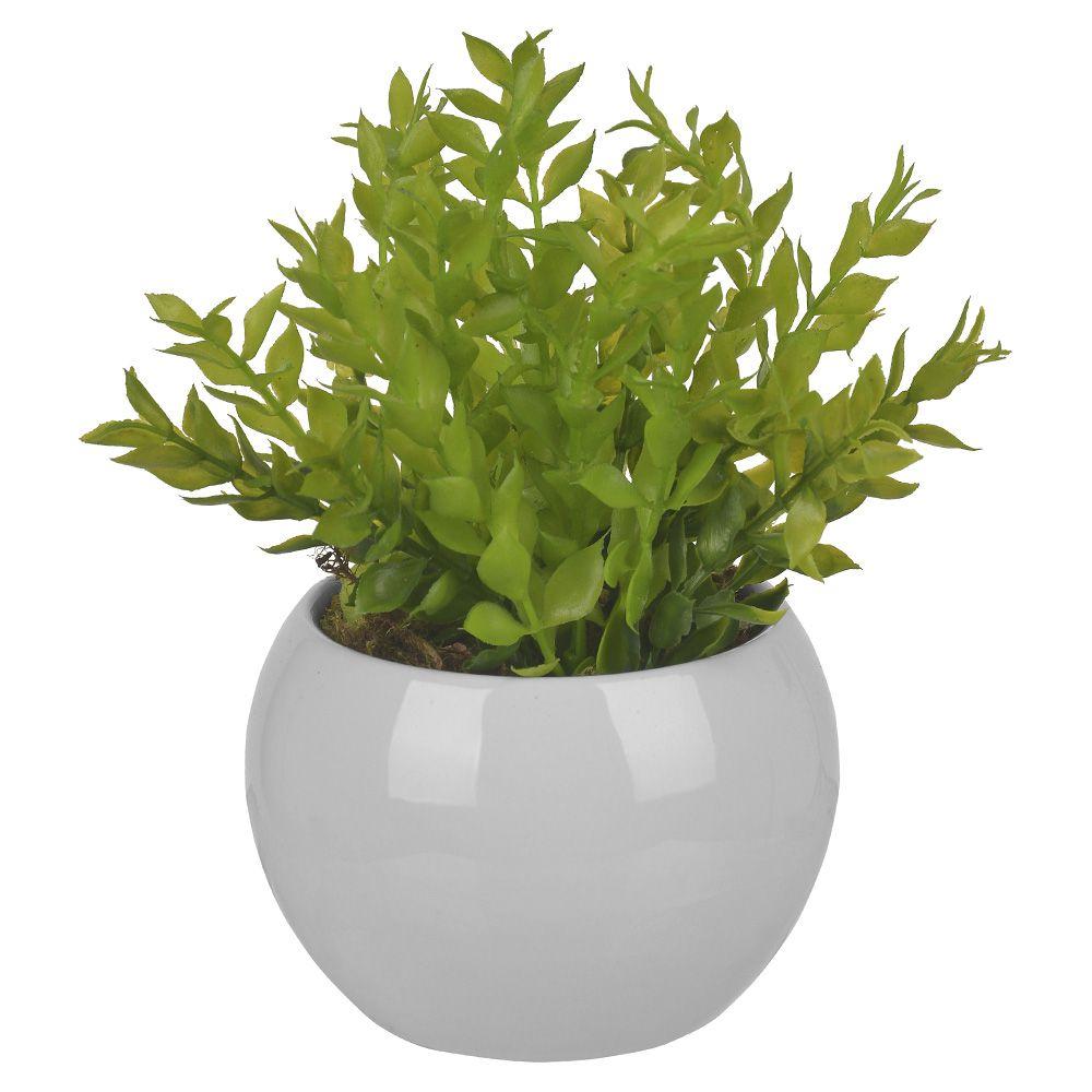 Arranjo de Folhagem Artificial Verde com Vaso Branco 20cm - 60432