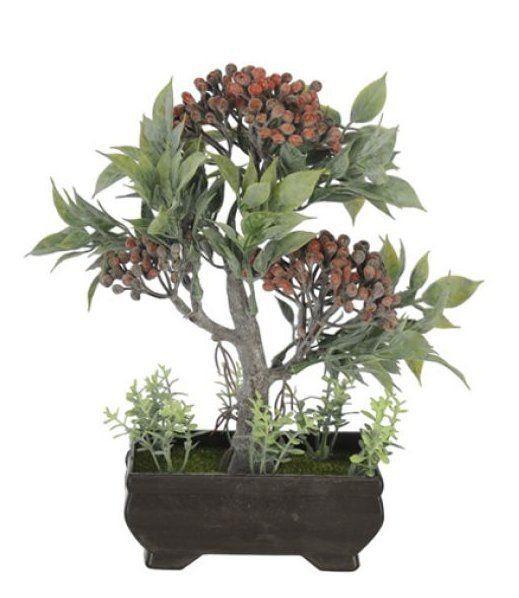 Árvore Bonsai artificial PLT X3 Vermelho 21cm - 36707002