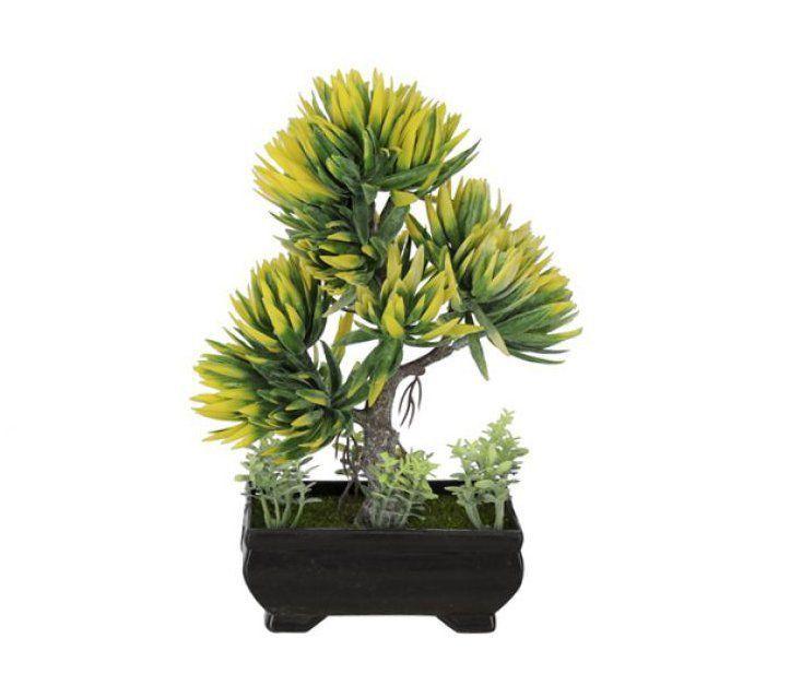 Árvore Bonsai artificial X3 Verde e Amarelo 21cm - 36708002