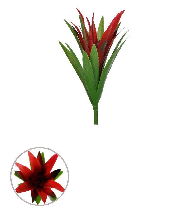 Bromélia Artificial Verde e Vermelha com 25cm (23860001)