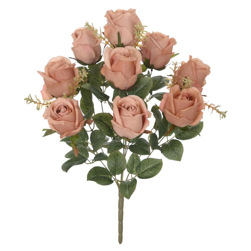 Buquê de Rosas artificial X9 52cm cor Chá Outono - 36435004