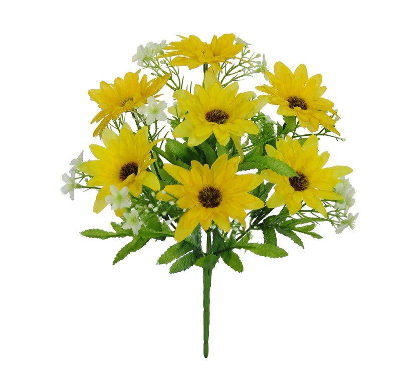 Buquê Margarida artificial X7 Amarelo 2 tons 27 cm 29794003