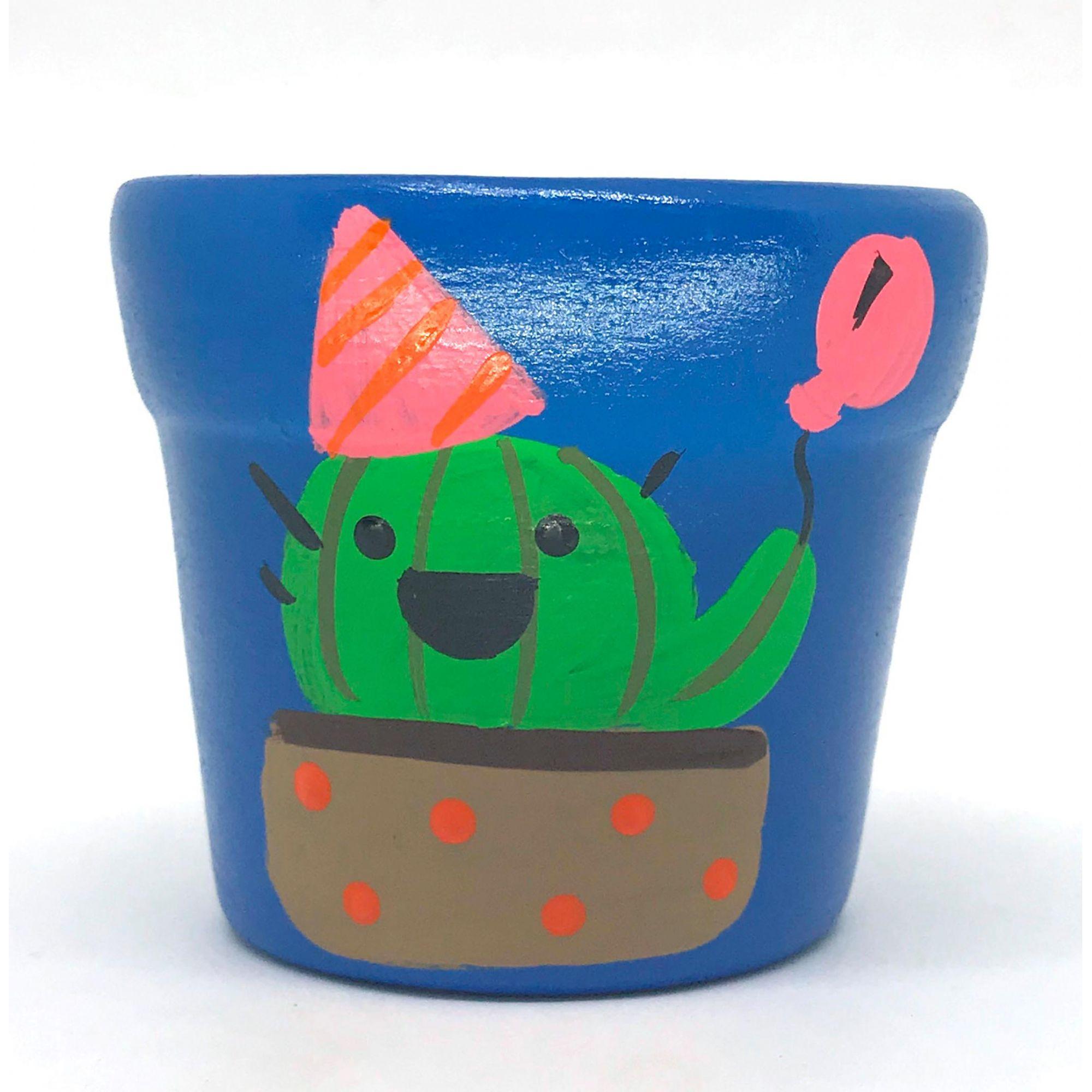 Cachepô de Cerâmica Azul Cacto Festivo 7,5cm x 8cm