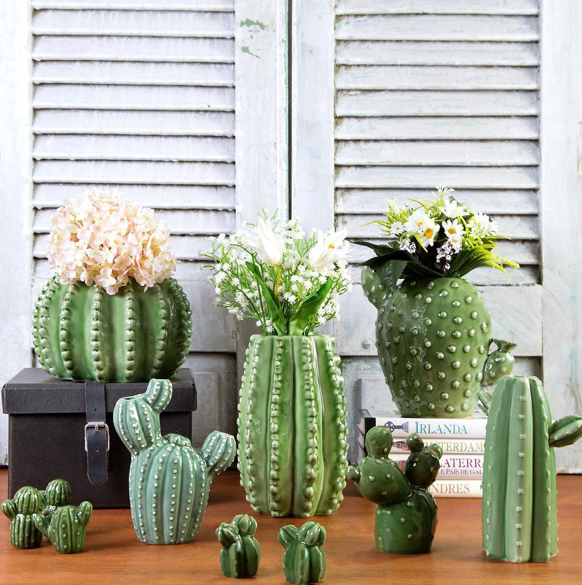 Cachepô de Cerâmica Barrel Cactus Verde 12,5cm x 18,5cm - 40395