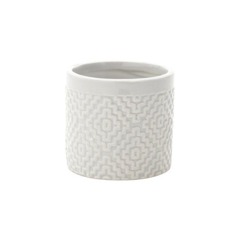 Cachepô de Cerâmica Bordado Cinza 7cm x 7,5cm - 41315