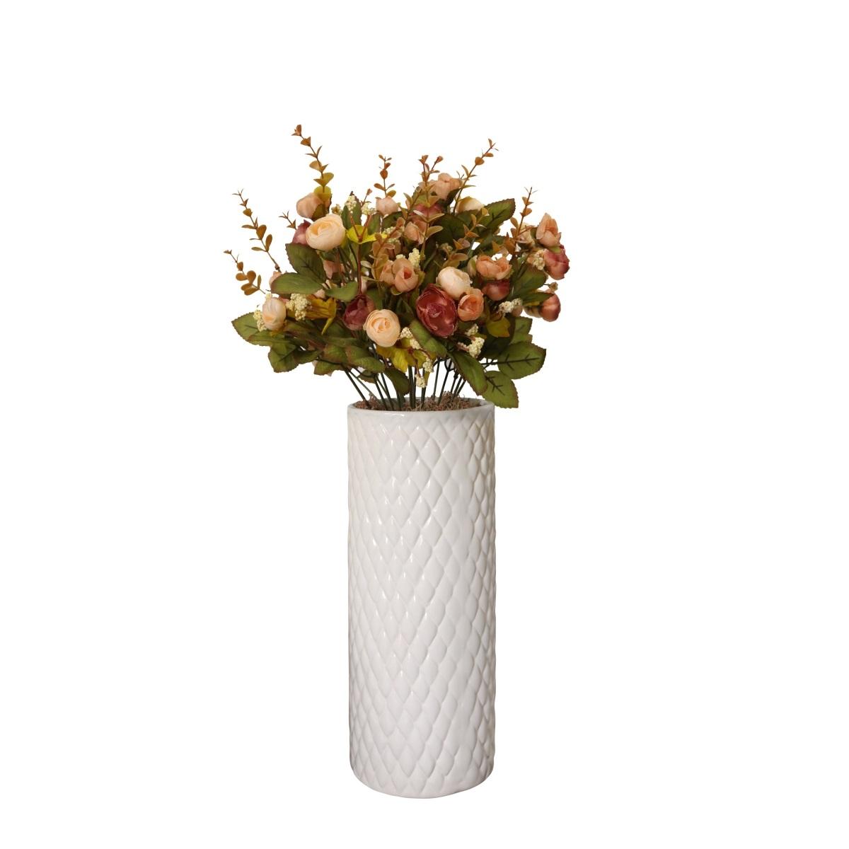 Cachepô de Cerâmica Branco Botanicals Alto 32,5cm x 12,5cm - 5717
