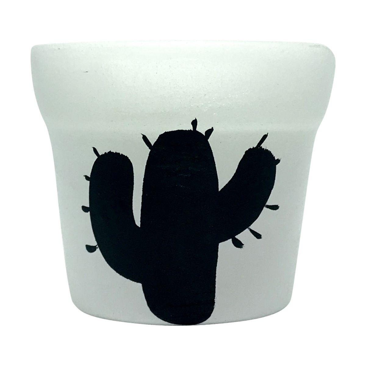 Cachepô de Cerâmica Branco Cacto da Noite 7,5cm x 8cm