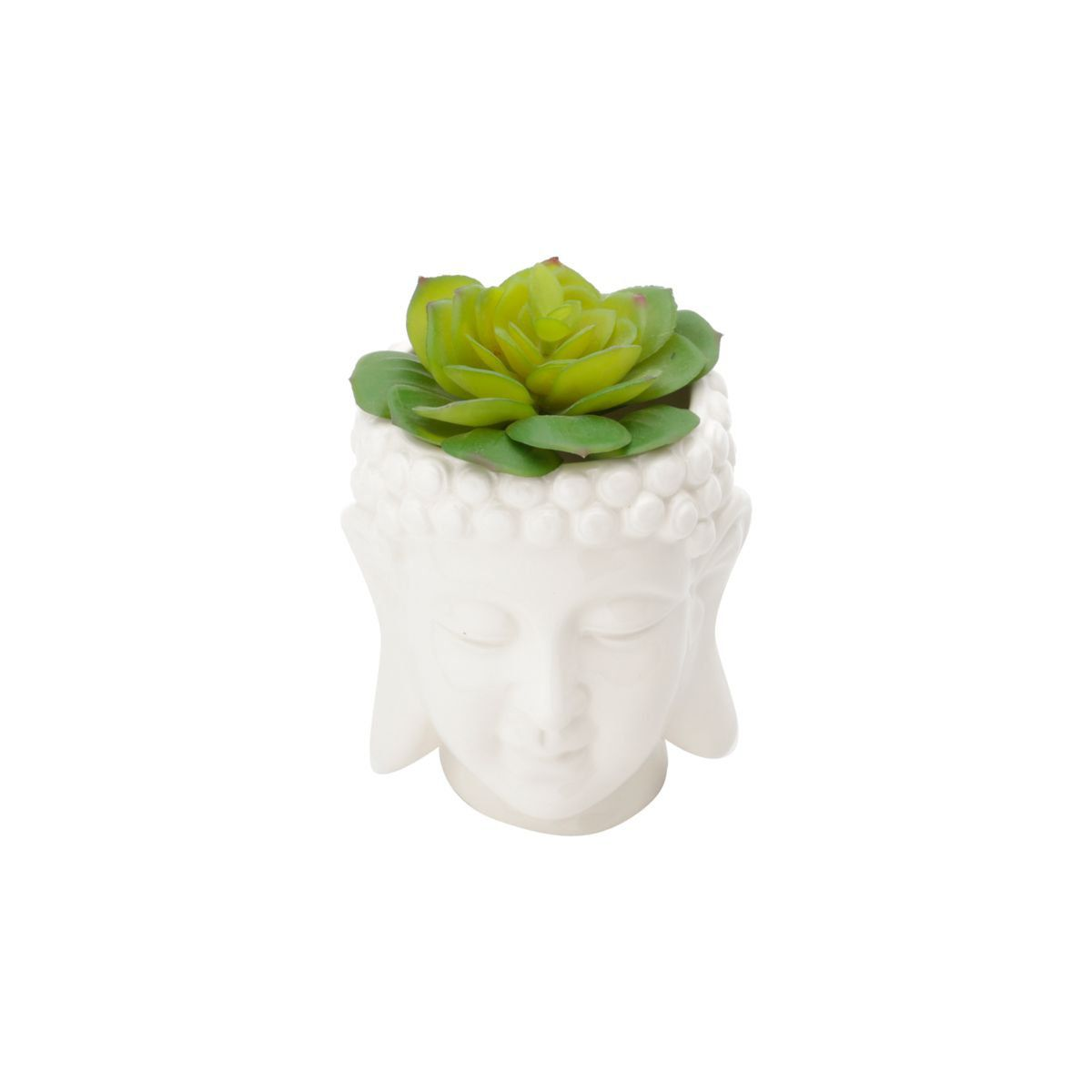 Cachepô de Cerâmica Budhas Head Branco 12,5cm x 11cm - 41014