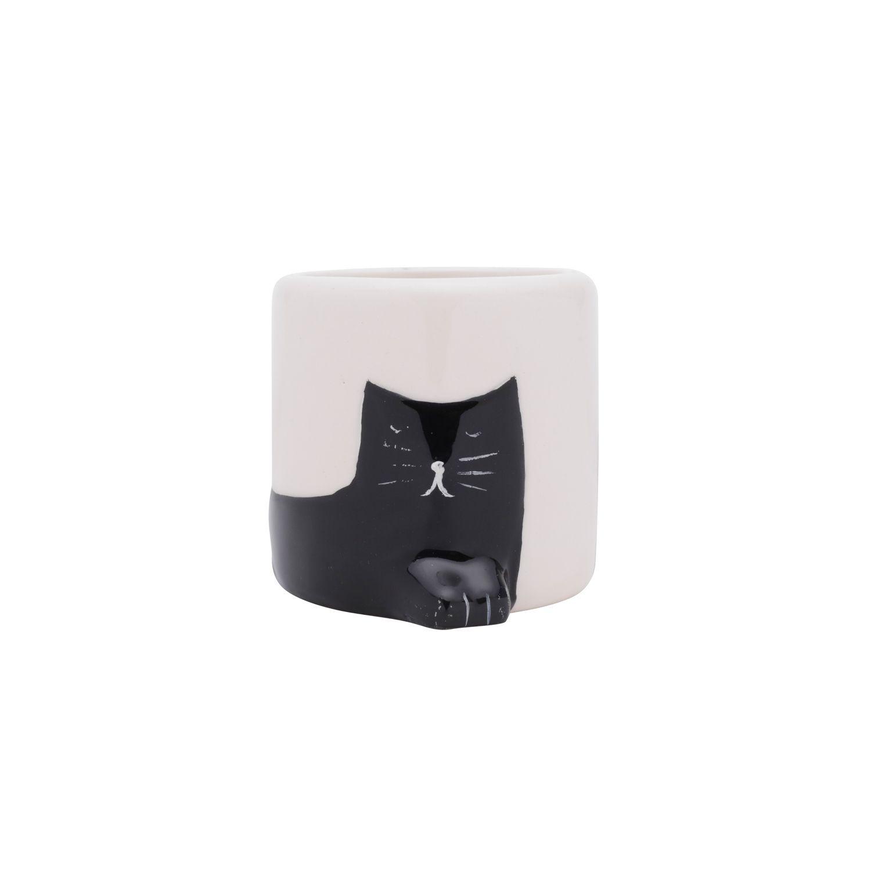 Cachepô de Cerâmica Chilling Cat Branco e Preto 6,5cm x 6,5cm - 43865