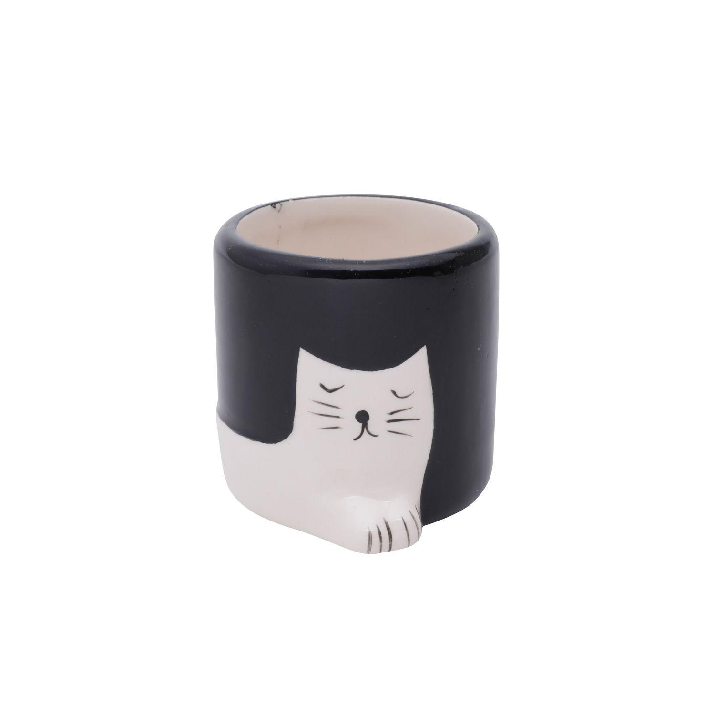 Cachepô de Cerâmica Chilling Cat Preto e Branco 6,5cm x 6,5cm - 43866