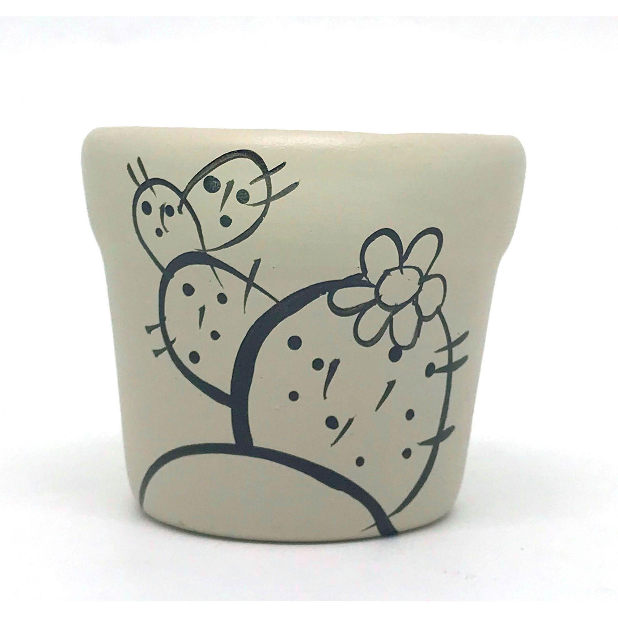 Cachepô de Cerâmica Cinza Cacto Acenando 7,5cm x 8cm