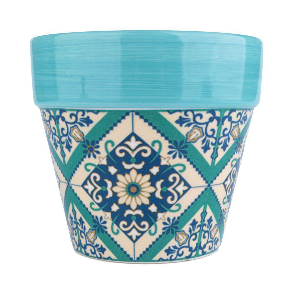 Cachepô de Cerâmica Cone Verde 12,5cm x 14cm - 40415