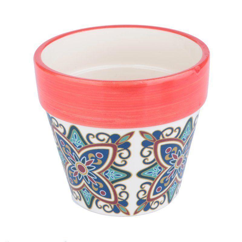 Cachepô de Cerâmica Cone Vermelho 12,5cm x 14cm - 40417