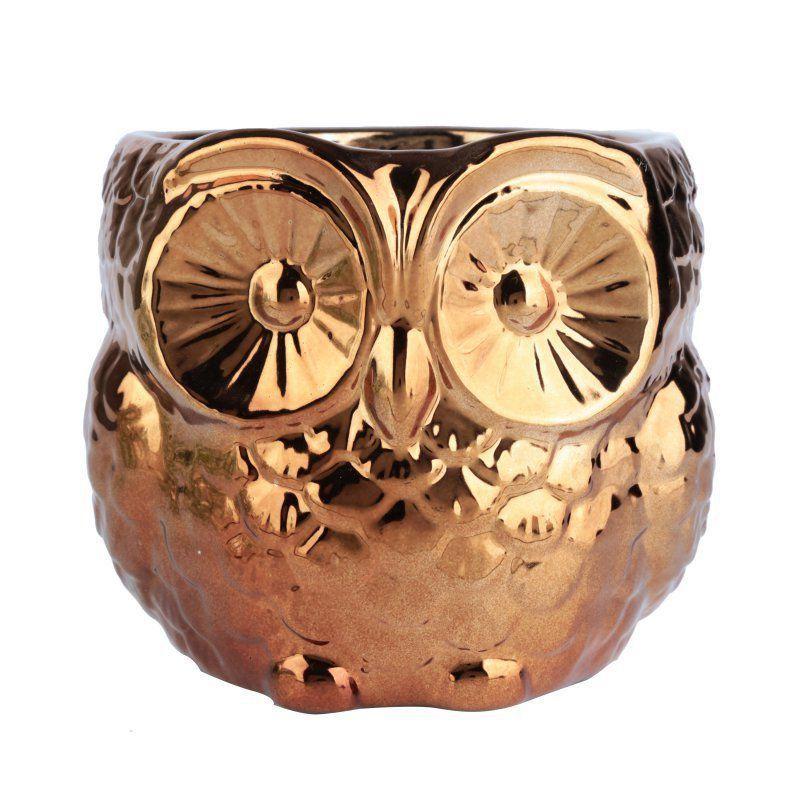 Cachepô de Cerâmica Coruja cor Cobre 12cm x 12,5cm - 40487