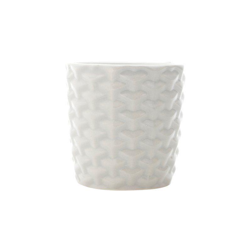 Cachepô de Cerâmica Crochet Cinza 7,5cm x 7cm - 41314