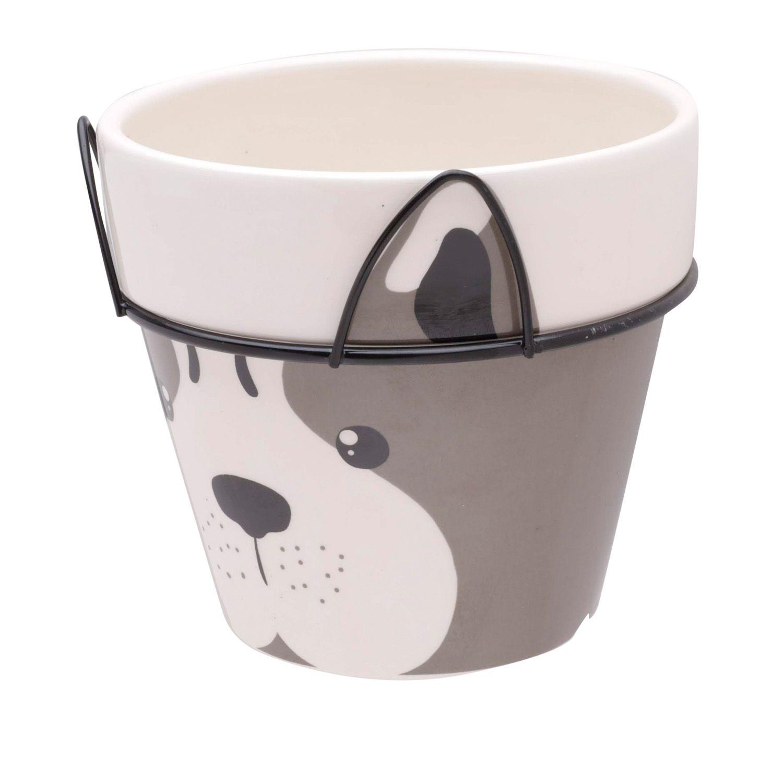 Cachepô de Cerâmica Dog Face Marrom com Suporte de Metal 11cm x 12cm - 43869