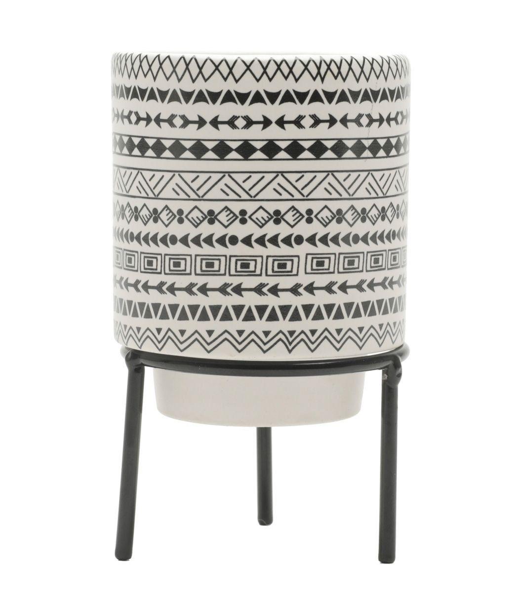 Cachepô de Cerâmica Estampa Étnica com Suporte de Metal Preto 8,5cm x 7cm - 42548