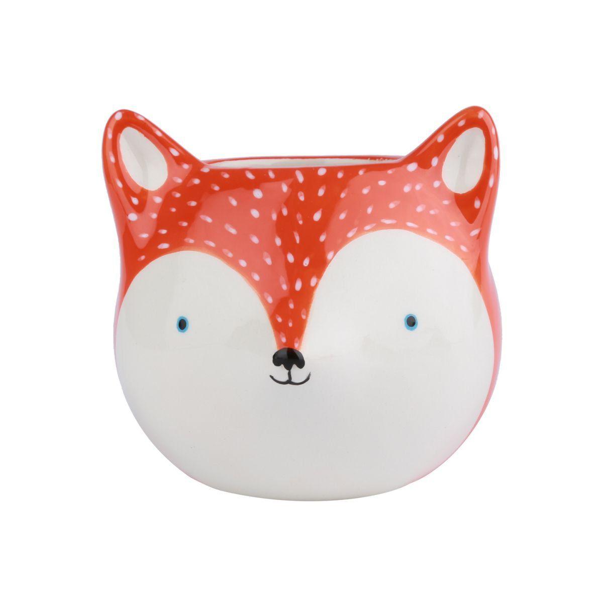 Cachepô de Cerâmica Fox Laranja 10cm x 11cm - 40101
