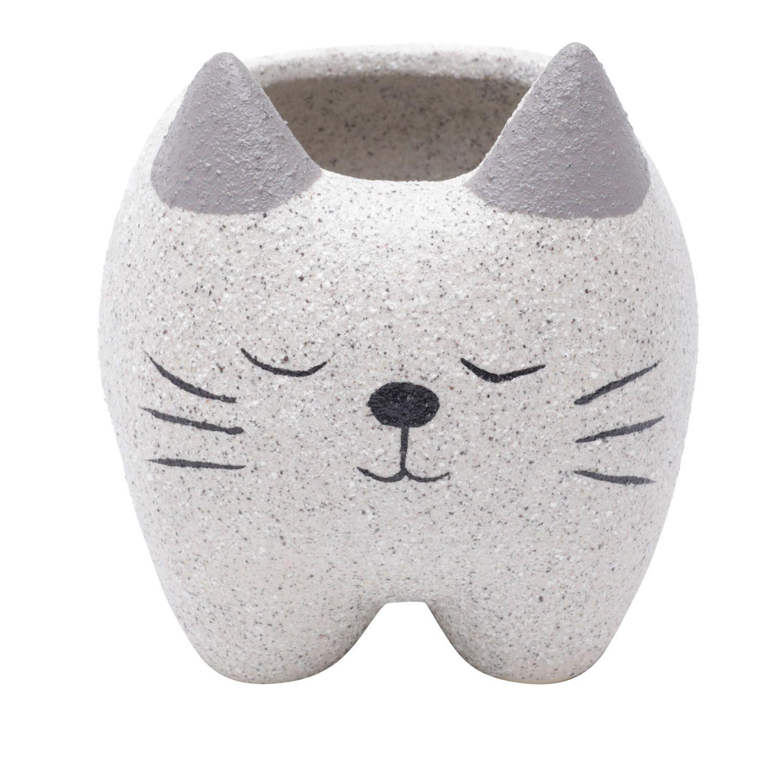 Cachepô de Cerâmica Gatinho Dorminhoco Cinza 11cm x 10cm - 44181
