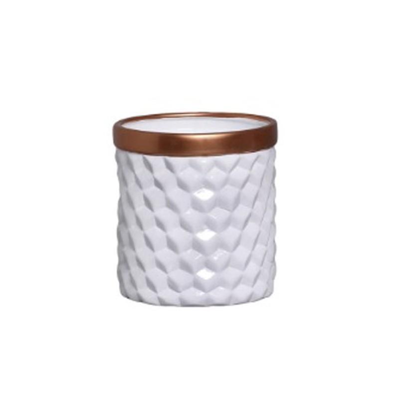 Cachepô de Cerâmica Geométrico Branco e Bronze Pequeno 12cm x 10cm - 5781
