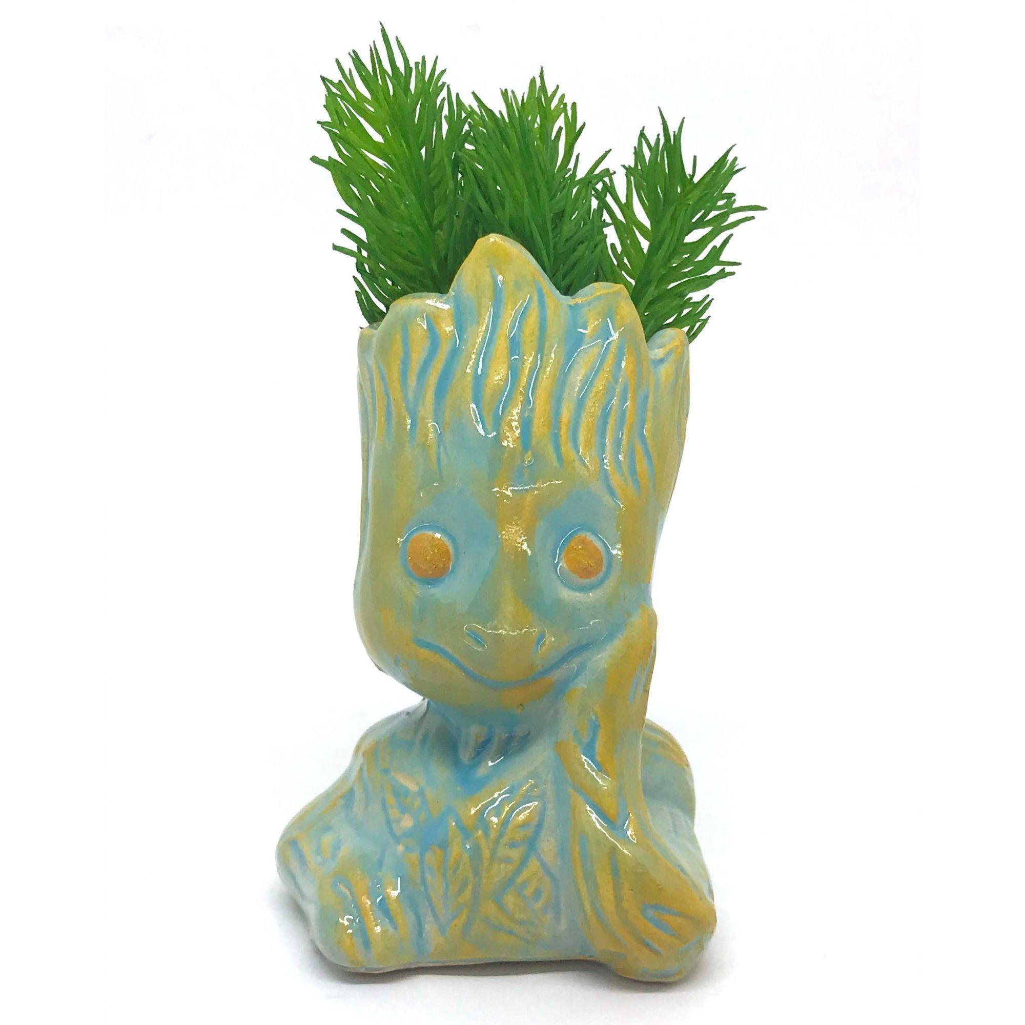 Vaso de Cerâmica Groot Azul e Amarelo 12cm x 5,5cm