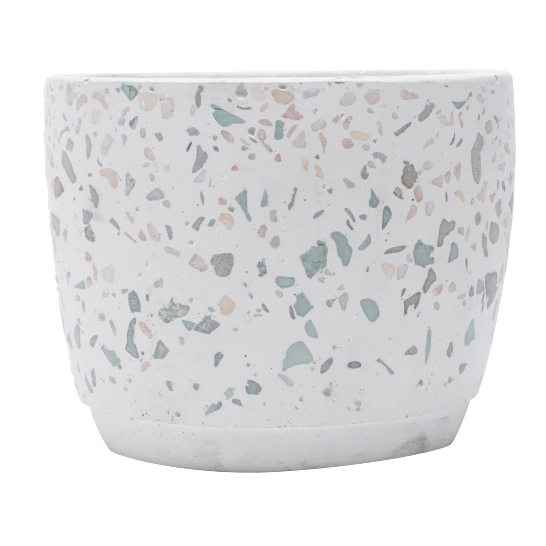 Cachepô de Cerâmica Ice Granilite Branco 8,5cm x 11cm - 43721