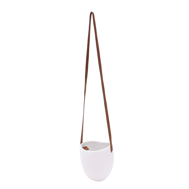 Cachepô de Cerâmica Leather Hanging Branco 11,5cm x 10,5cm - 43747