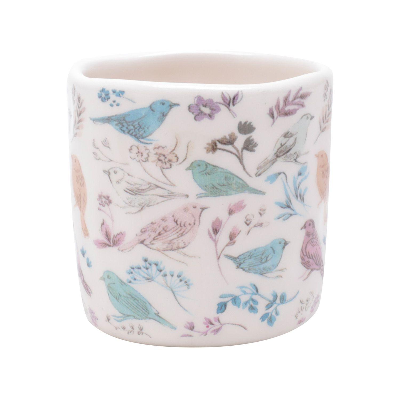 Cachepô de Cerâmica Pássaros e Flores Branco 7cm x 7cm - 43870