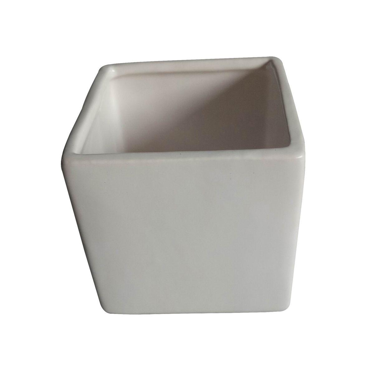 Cachepô de Cerâmica Quadrado Basics Branco 10cm x 10cm - 44085