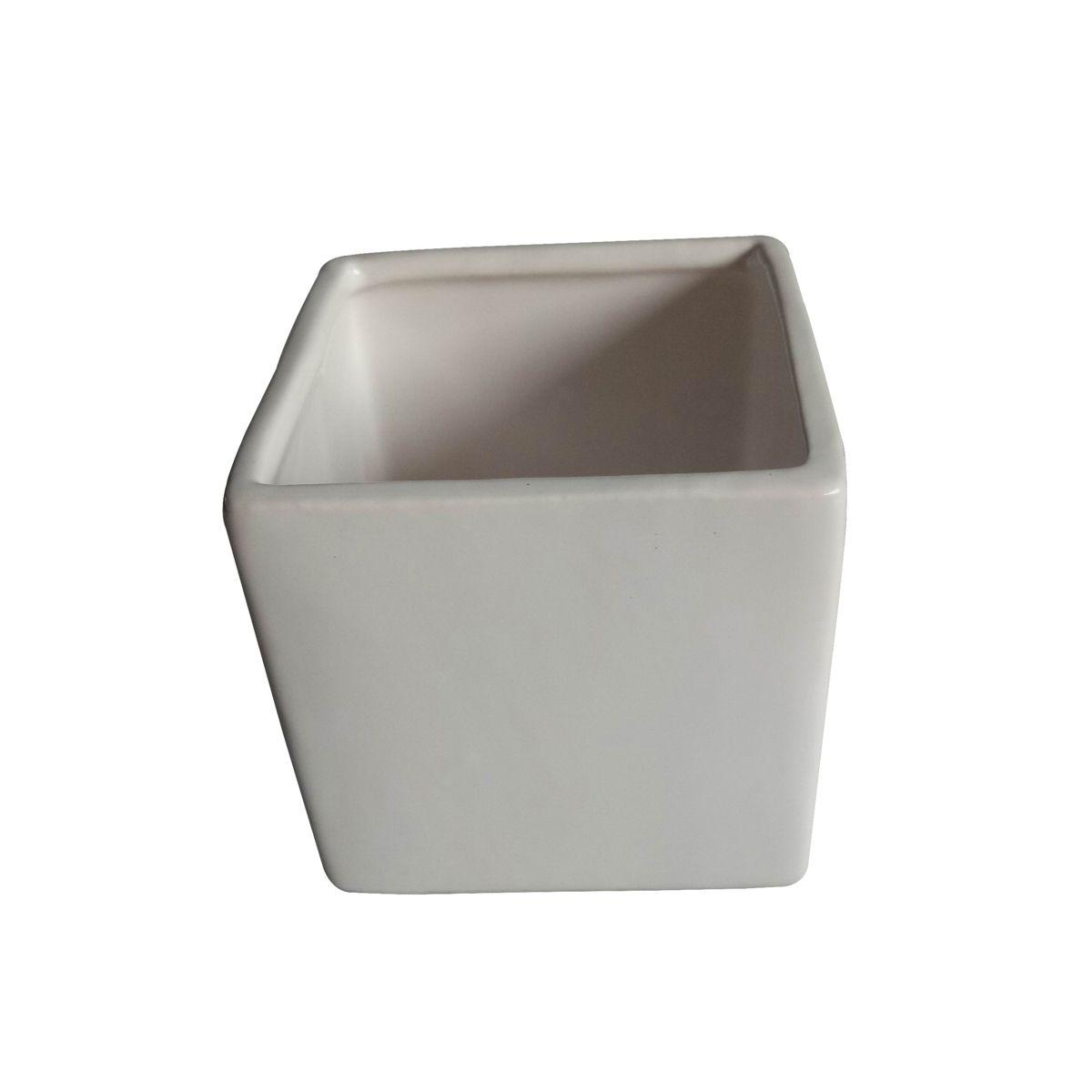 Cachepô de Cerâmica Quadrado Basics Branco 6cm x 7cm - 44087