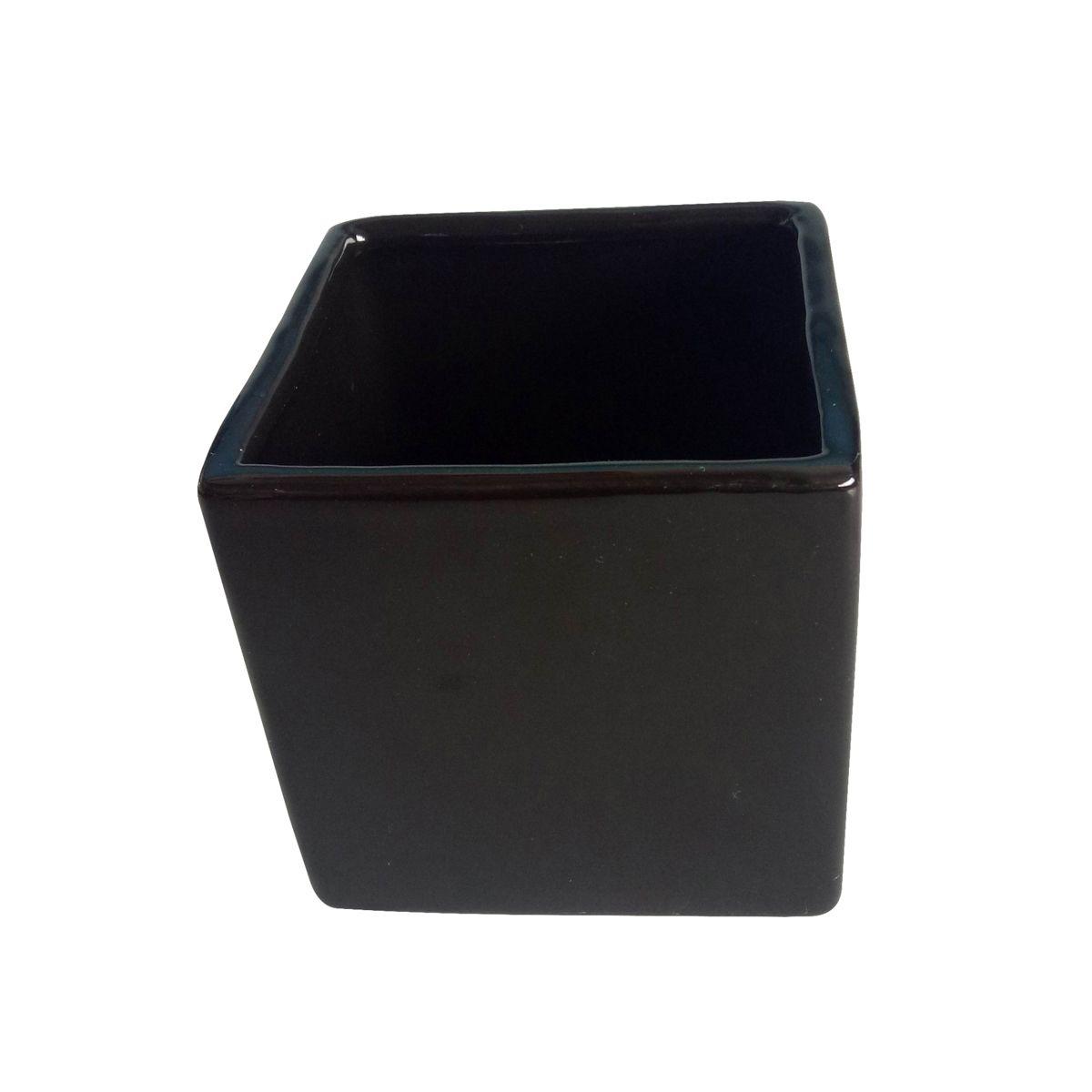 Cachepô de Cerâmica Quadrado Basics Preto 6cm x 7cm - 44088