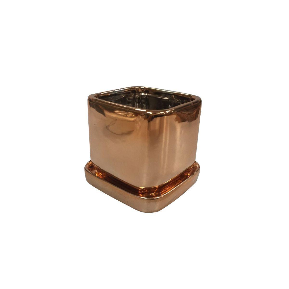 Cachepô de Cerâmica Quadrado Shiny Cobre 9cm x 8,5cm - 42851