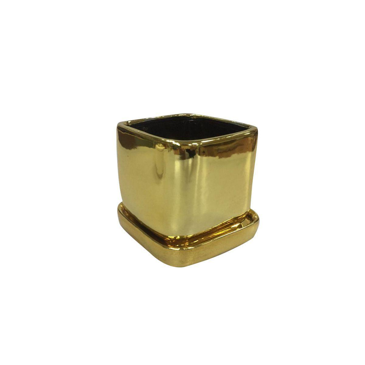 Cachepô de Cerâmica Quadrado Shiny Dourado 9cm x 8,5cm - 42852