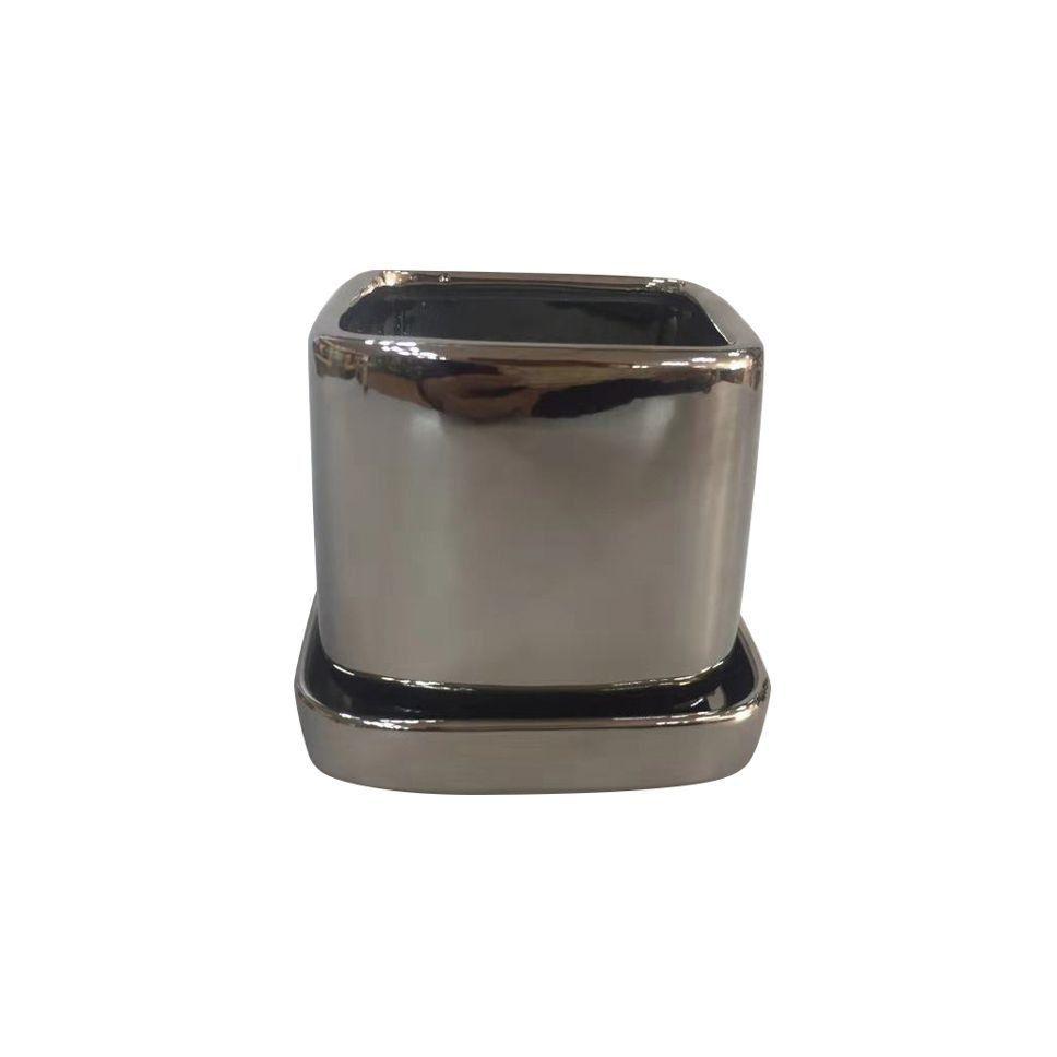 Cachepô de Cerâmica Quadrado Shiny Prata 9cm x 8,5cm - 42850