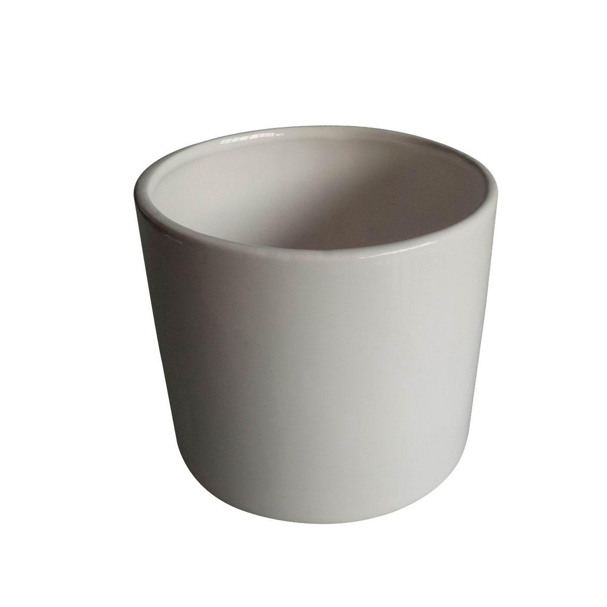 Cachepô de Cerâmica Redondo Basics Branco 10,5cm x 12cm - 44083
