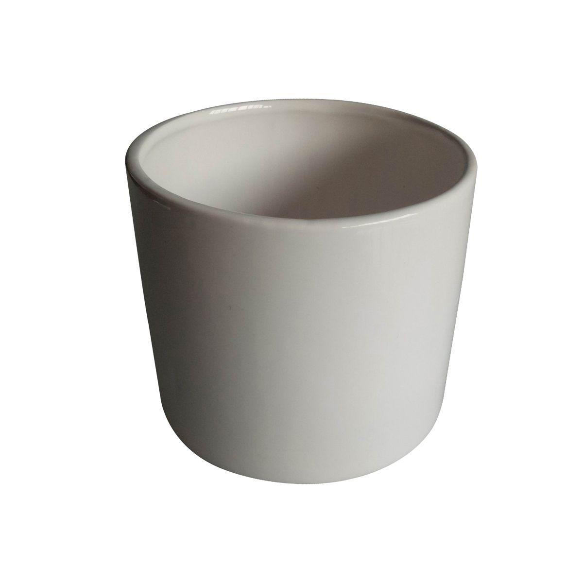 Cachepô de Cerâmica Redondo Basics Branco 6,5cm x 7,5cm - 44081