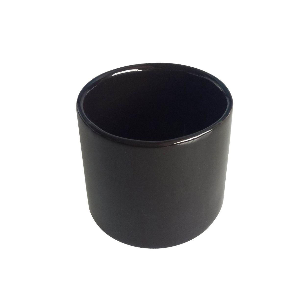 Cachepô de Cerâmica Redondo Basics Preto 6,5cm x 7,5cm - 44082