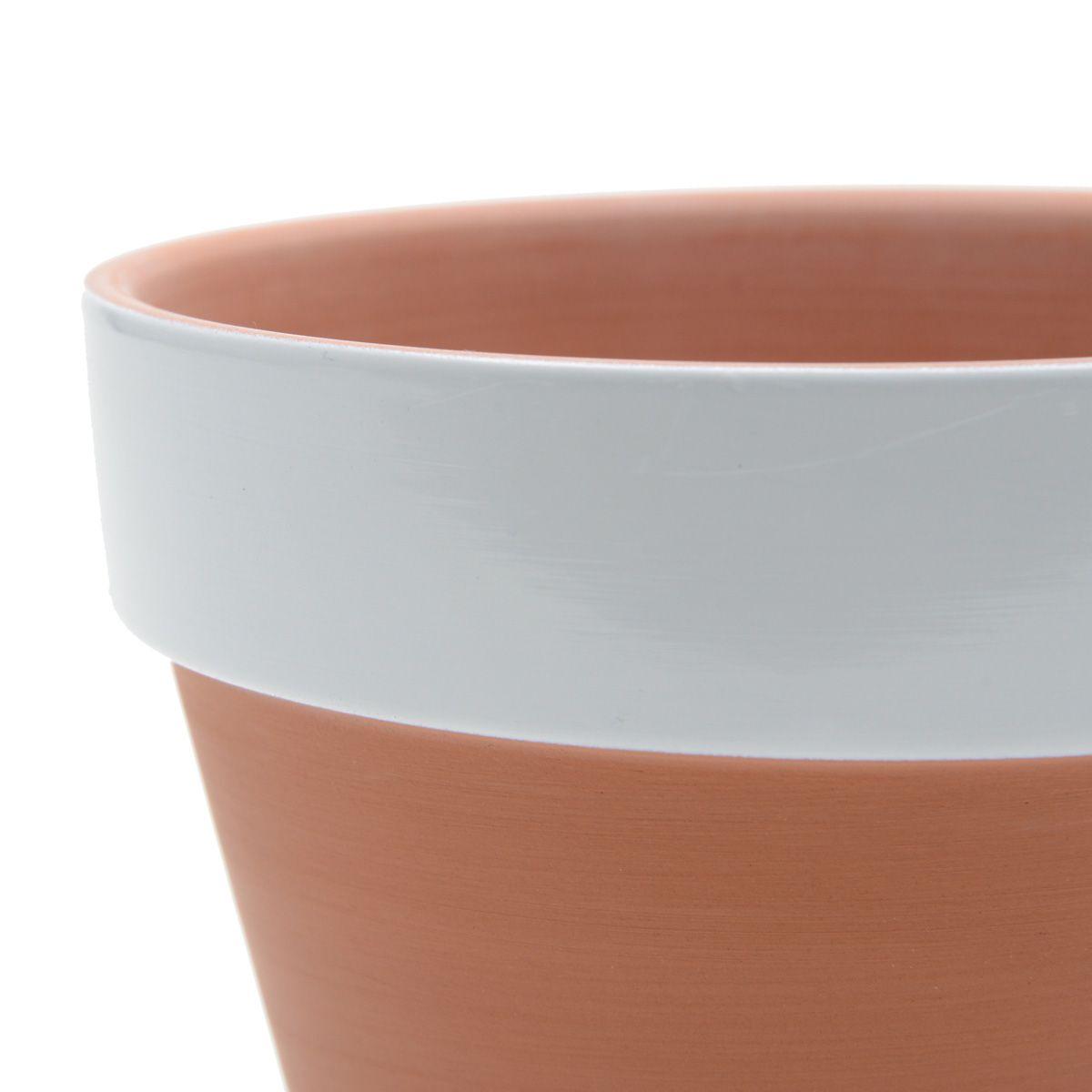 Vaso de Cerâmica Redondo cor Terracota com Borda Branca 13cm x 15cm - 43085