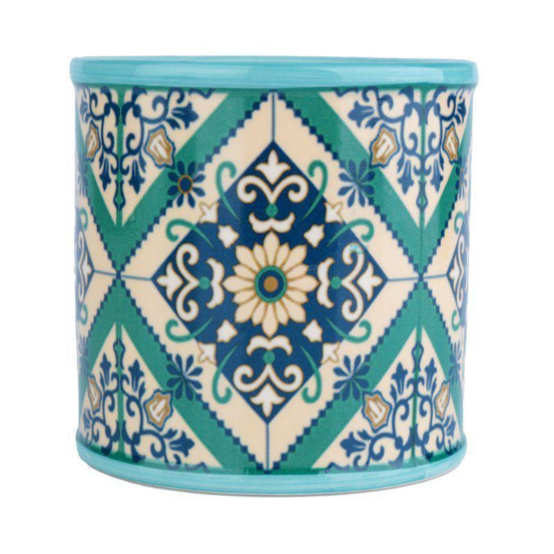 Cachepô de Cerâmica Redondo Pequeno Verde 9,8cm x 9,8cm - 40421