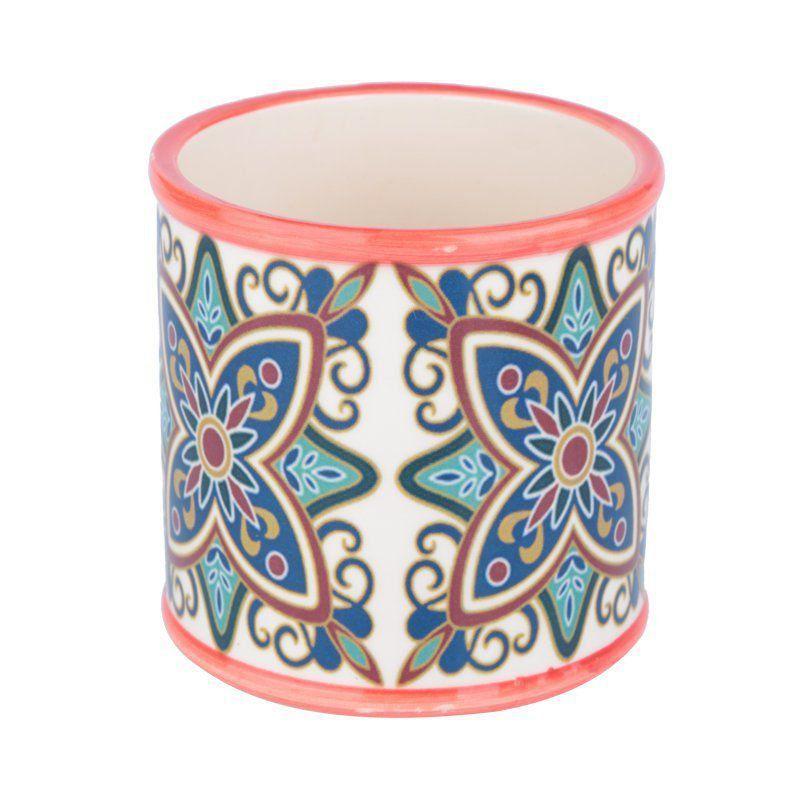 Cachepô de Cerâmica Redondo Pequeno Vermelho 9,8cm x 9,8cm - 40423