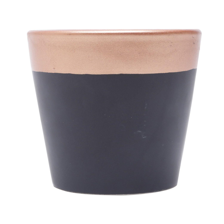 Cachepô de Cerâmica Redondo Preto com Borda Metálica Bronze 8,5cm x 9,5cm - 44186